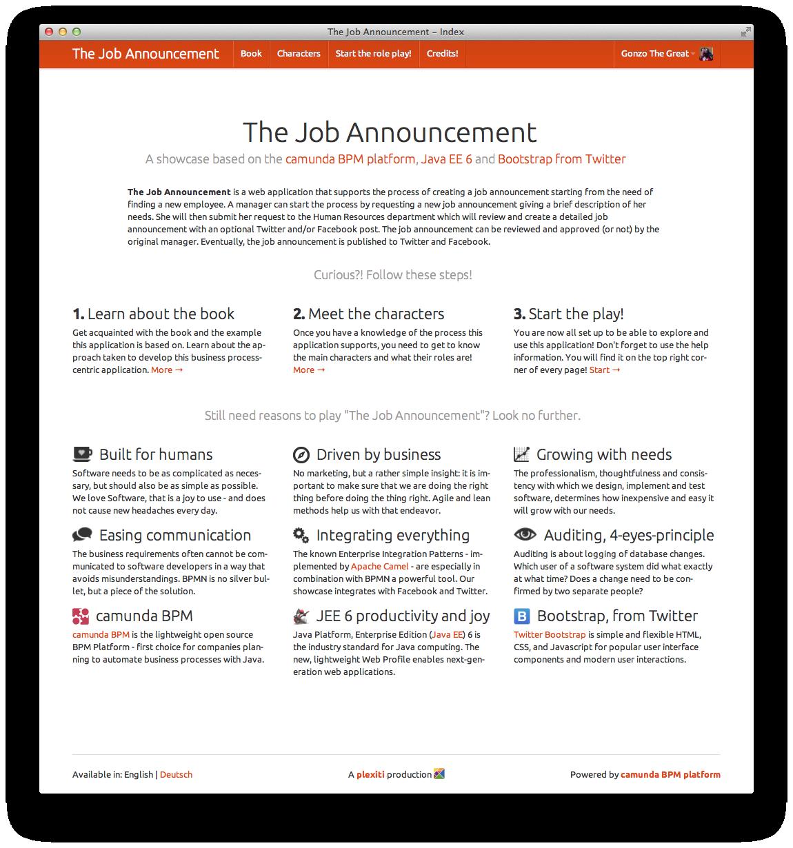 The Job Announcement Splash Screen