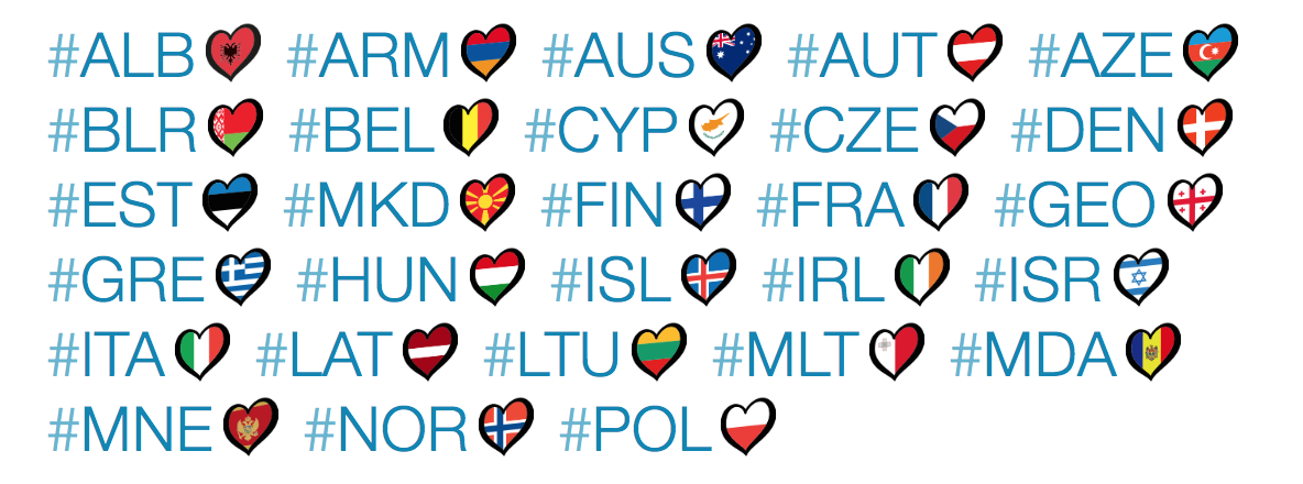 Hashflags from Eurovision 2015