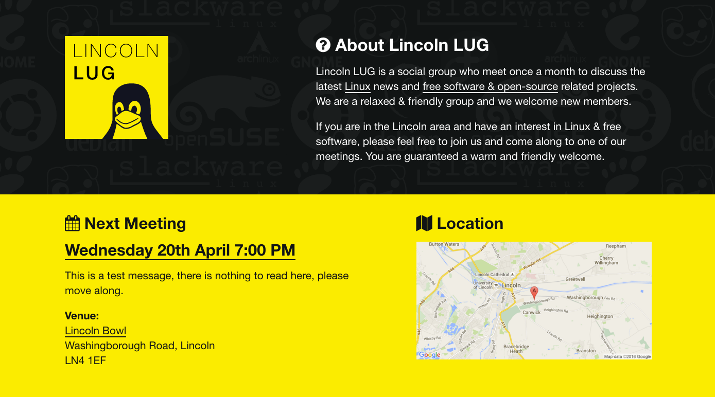 Screenshot of Lincoln LUG website.