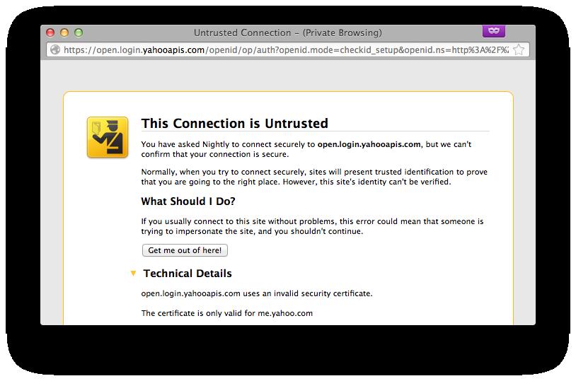 Yahoo Openid Sends Wrong Ssl Cert Issue 3676 Mozillapersona
