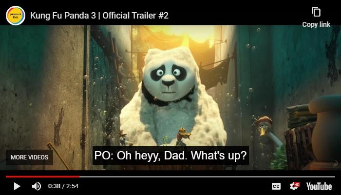 Kung Fu Panda Subtitle Example