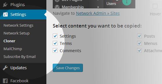 Cloner Settings - Network Admin