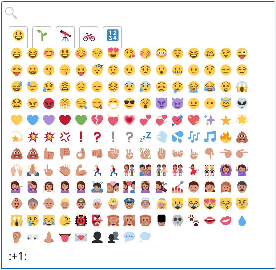 emoji picker palette, with search bar