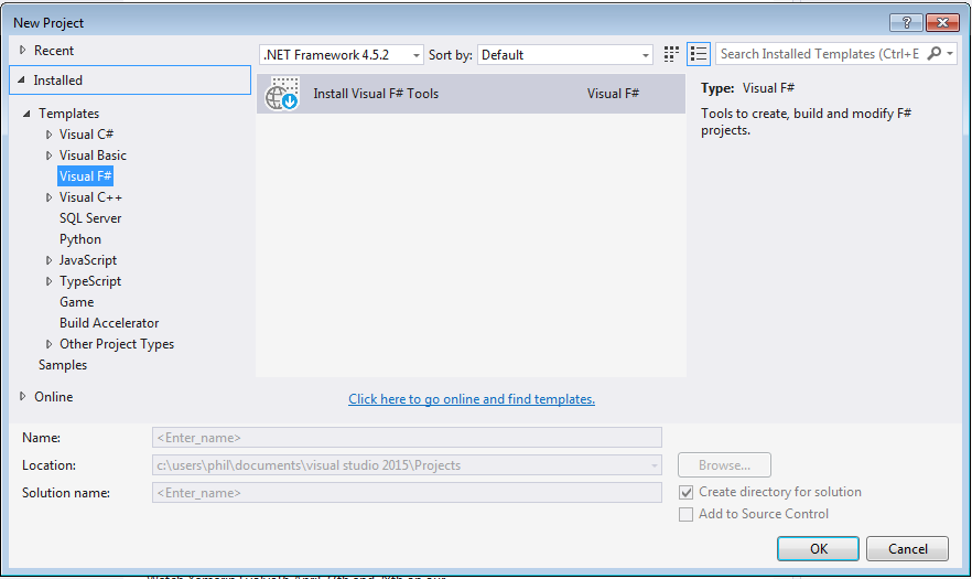 Screenshot of Visual Studio New Project wizard