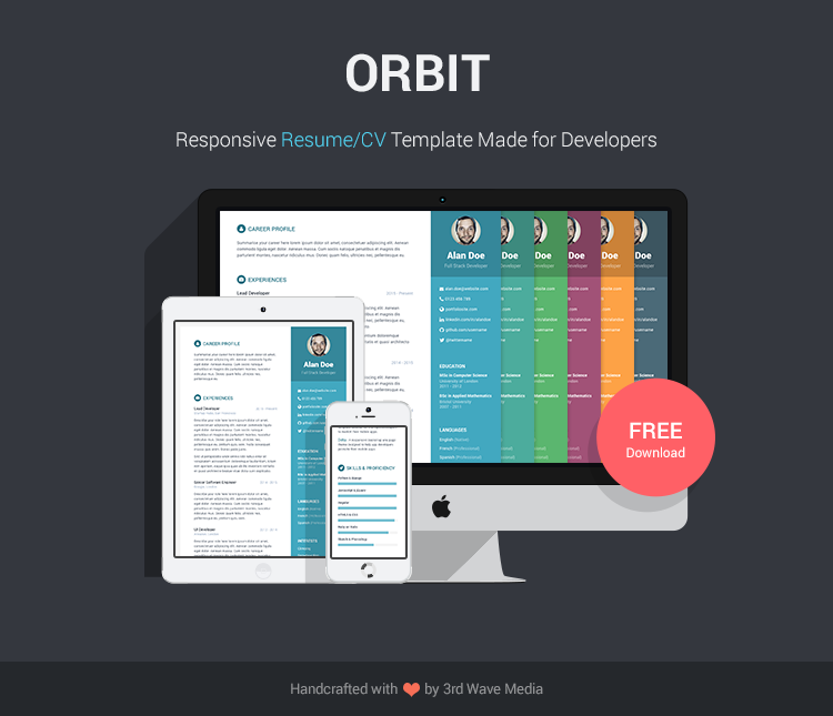 responsive resumecv template for developers - Html Resume Template Free