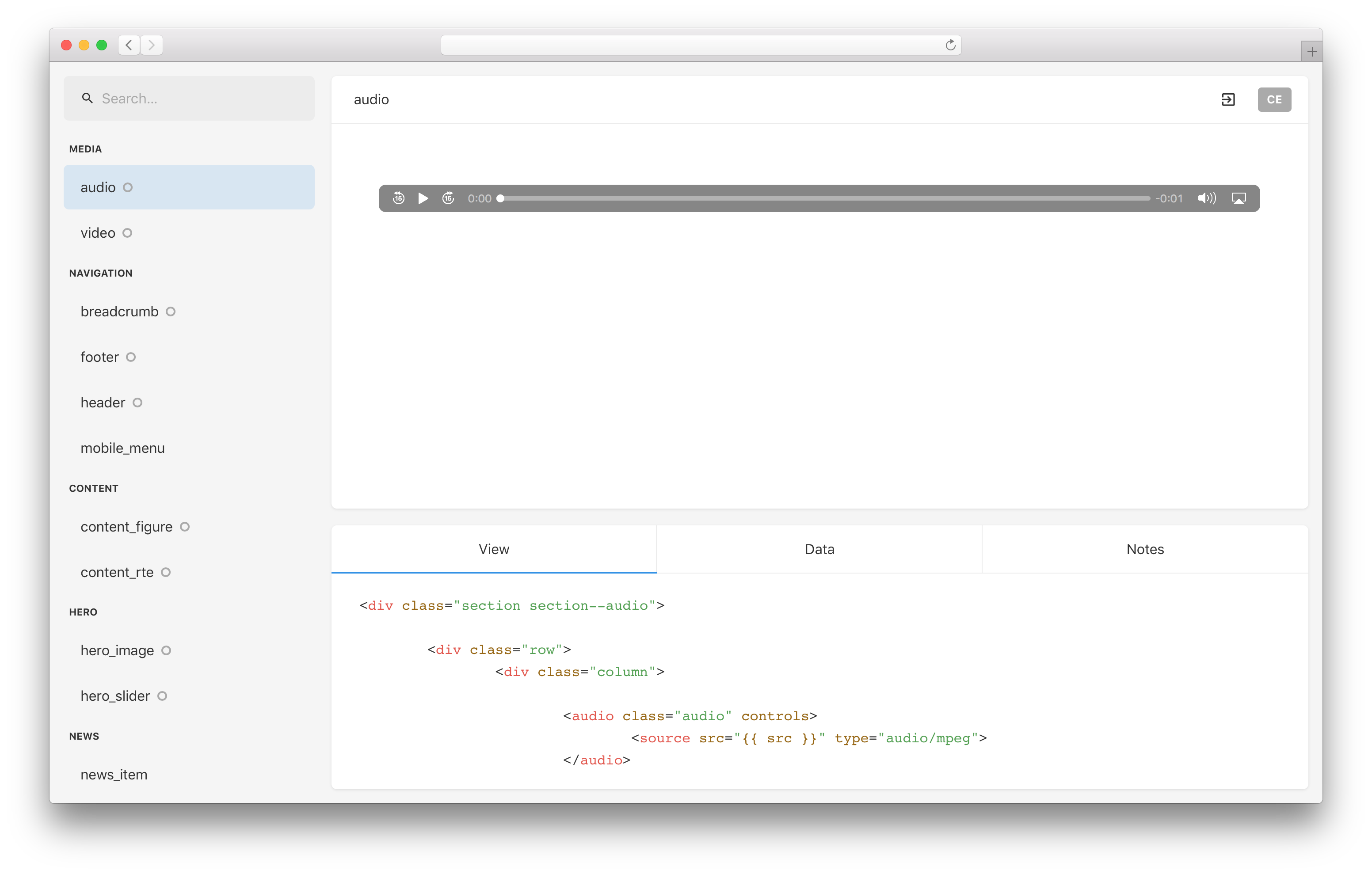 Malvid UI in a browser