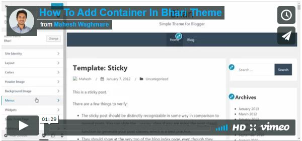 How To Add Container In Bhari Theme