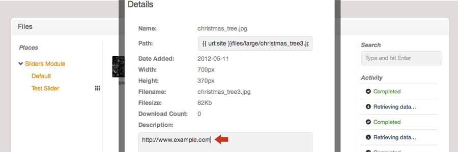 To make an image clickable, paste your URL into the image's description field in the core Files module details view.