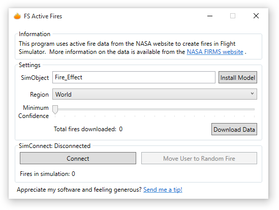 Screenshot of FS Active Fires