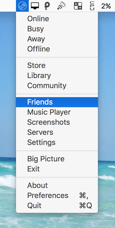 Steam Menubar on Mac OS X 10.11