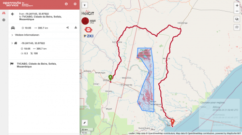 View of the disaster client calculating a route around a flooded area