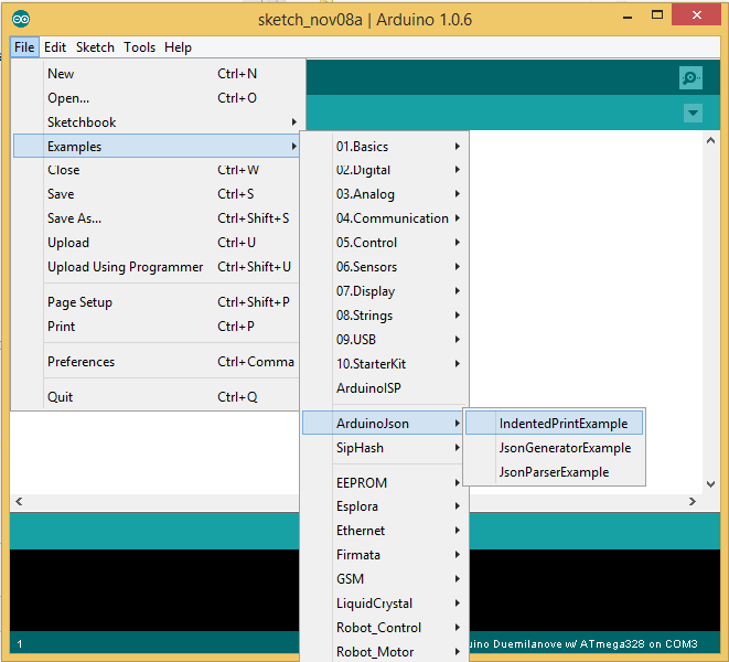 Screen capture of Arduino IDE