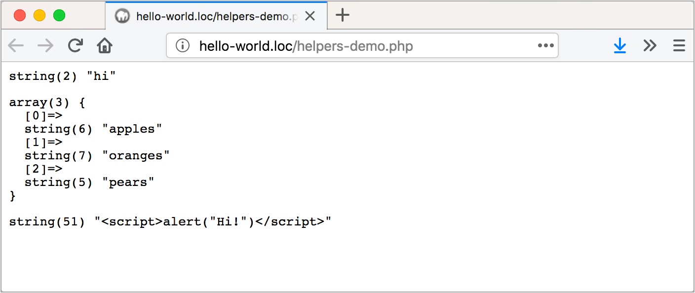 Demonstrating helpers.php