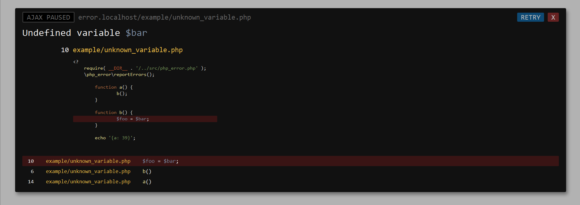 ajax server stack trace