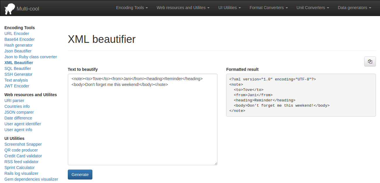 XML Beautifier
