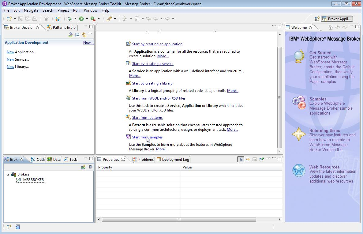 Figure 4 - Start the WMBT with a new workspace and then start from samples