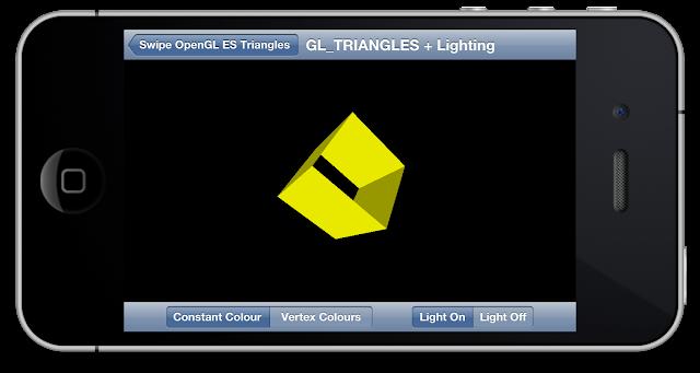 SwipeOpenGLTriangles GL_TRIANGLES + Lighting