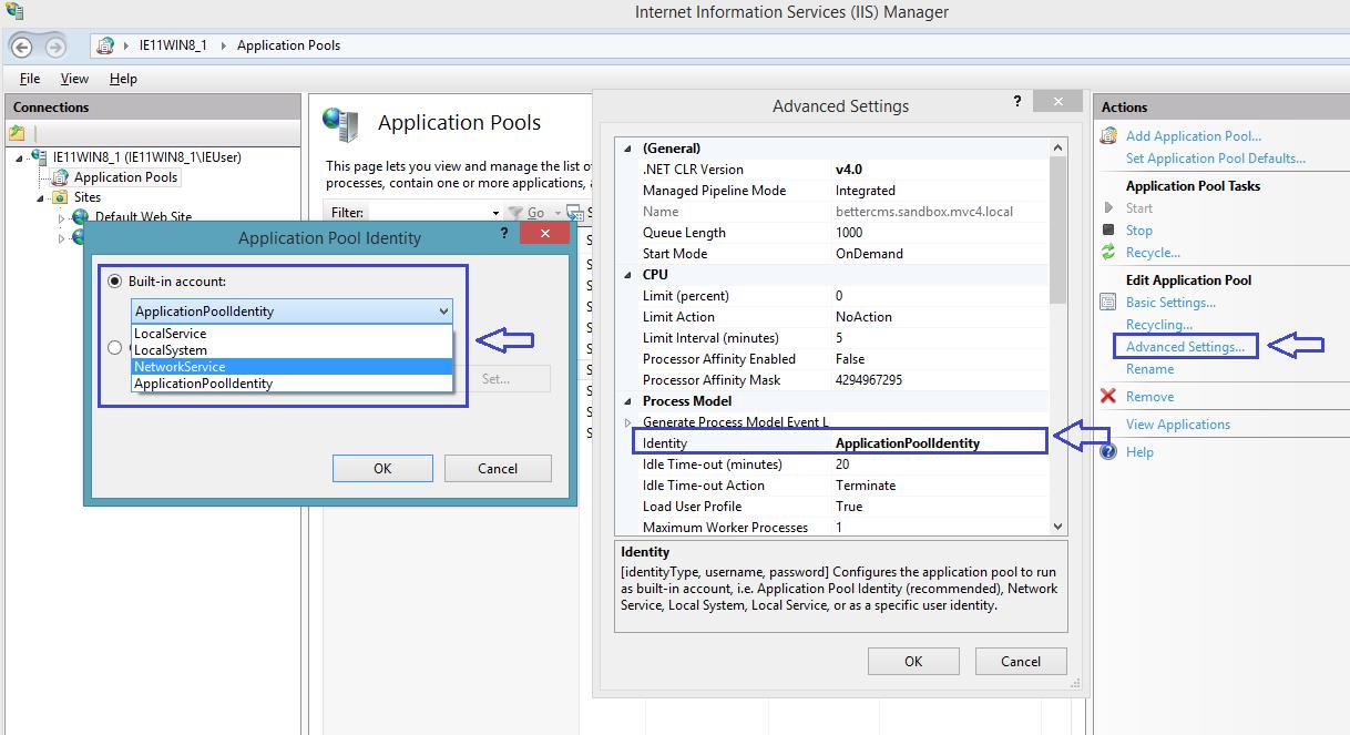 Change application pool identity