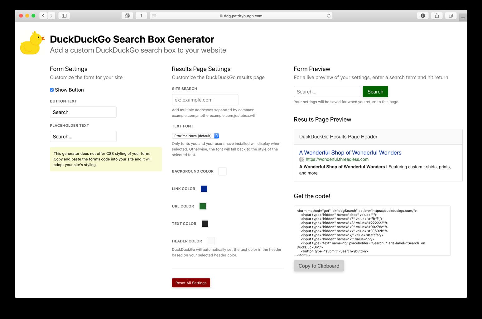 Screenshot of DuckDuckGo Search Box Generator