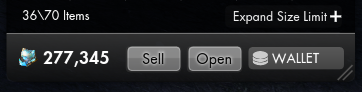 Screenshot of buttons on the UI