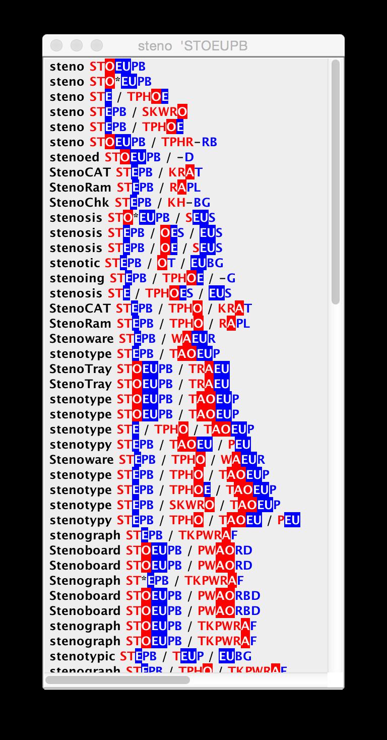 StenoTray showing strokes for 'steno'