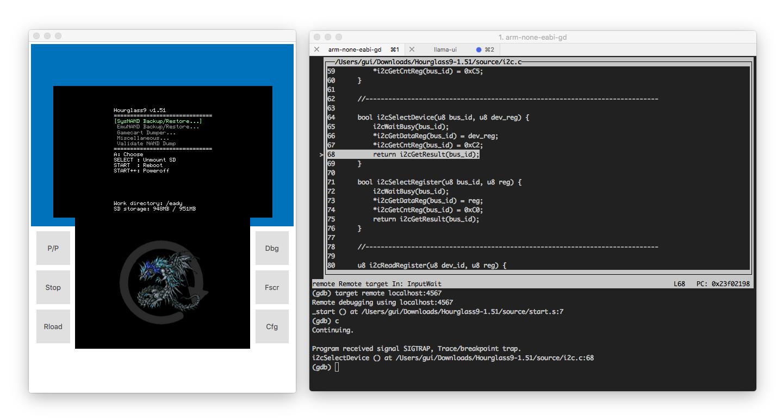 Llama's GUI, running Hourglass9