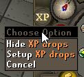 XP drop menu