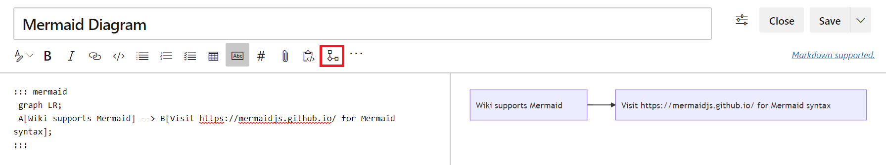 Mermaid diagram support in wiki