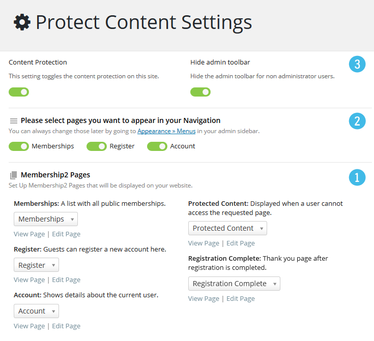 M2 Protect Content Settings