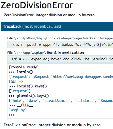 Screenshot of the debugger