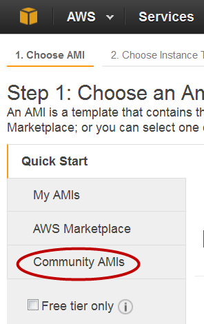 Figure 3: Click on COmmunity AMIs