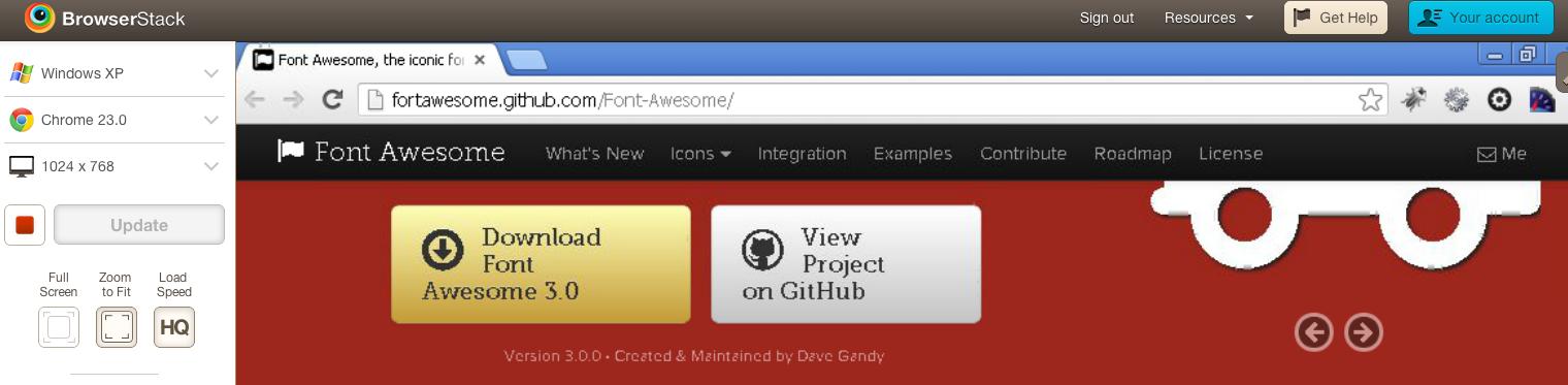 fontAwesome Chrome Windows XP