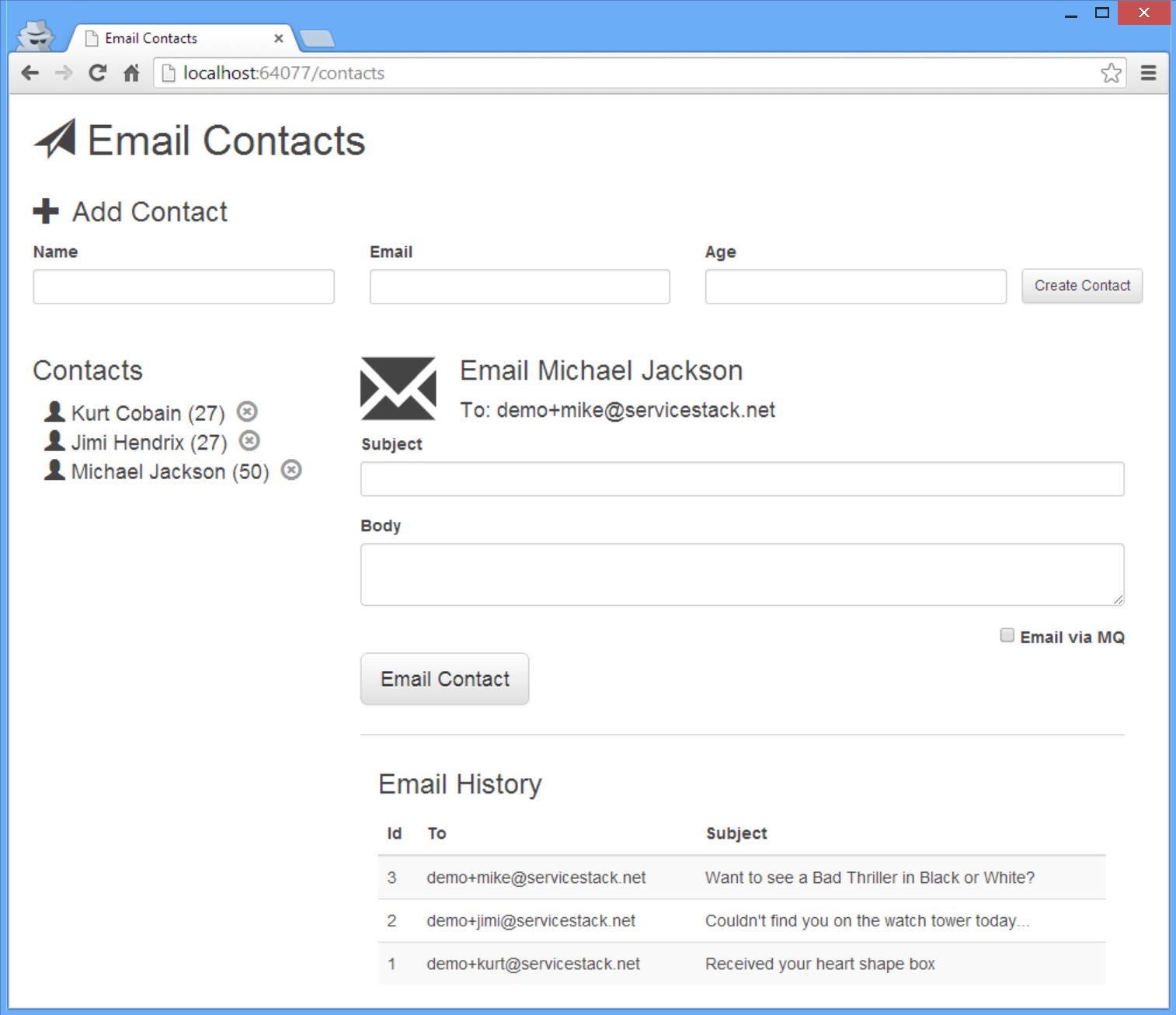 EmailContacts Screenshot
