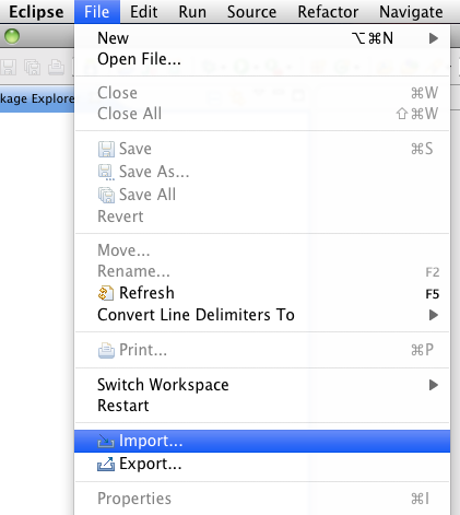 import project in eclipse