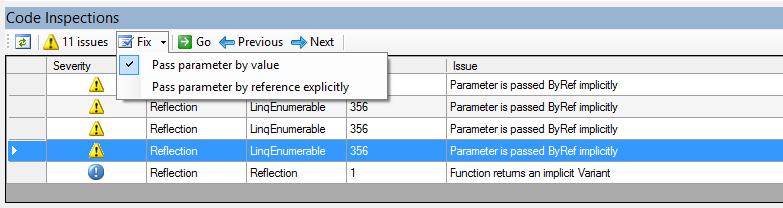 Code Inspections dockable toolwindow