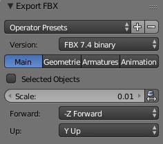 Changing Blender fbx export options.