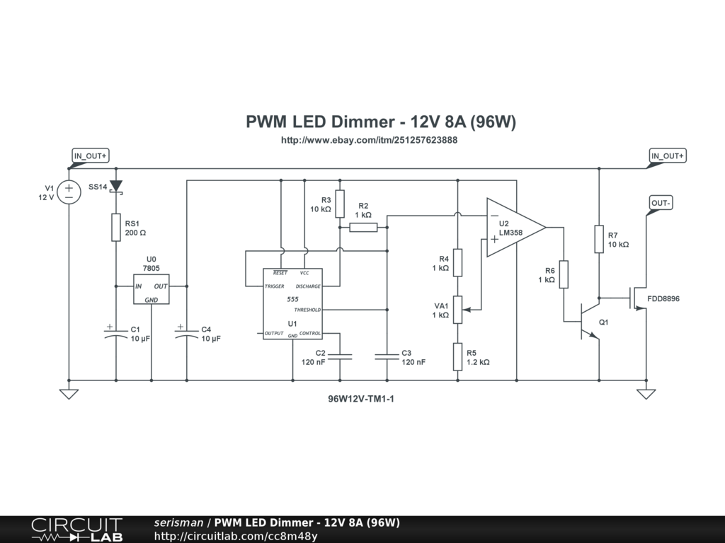 8A LED dimmer schematic