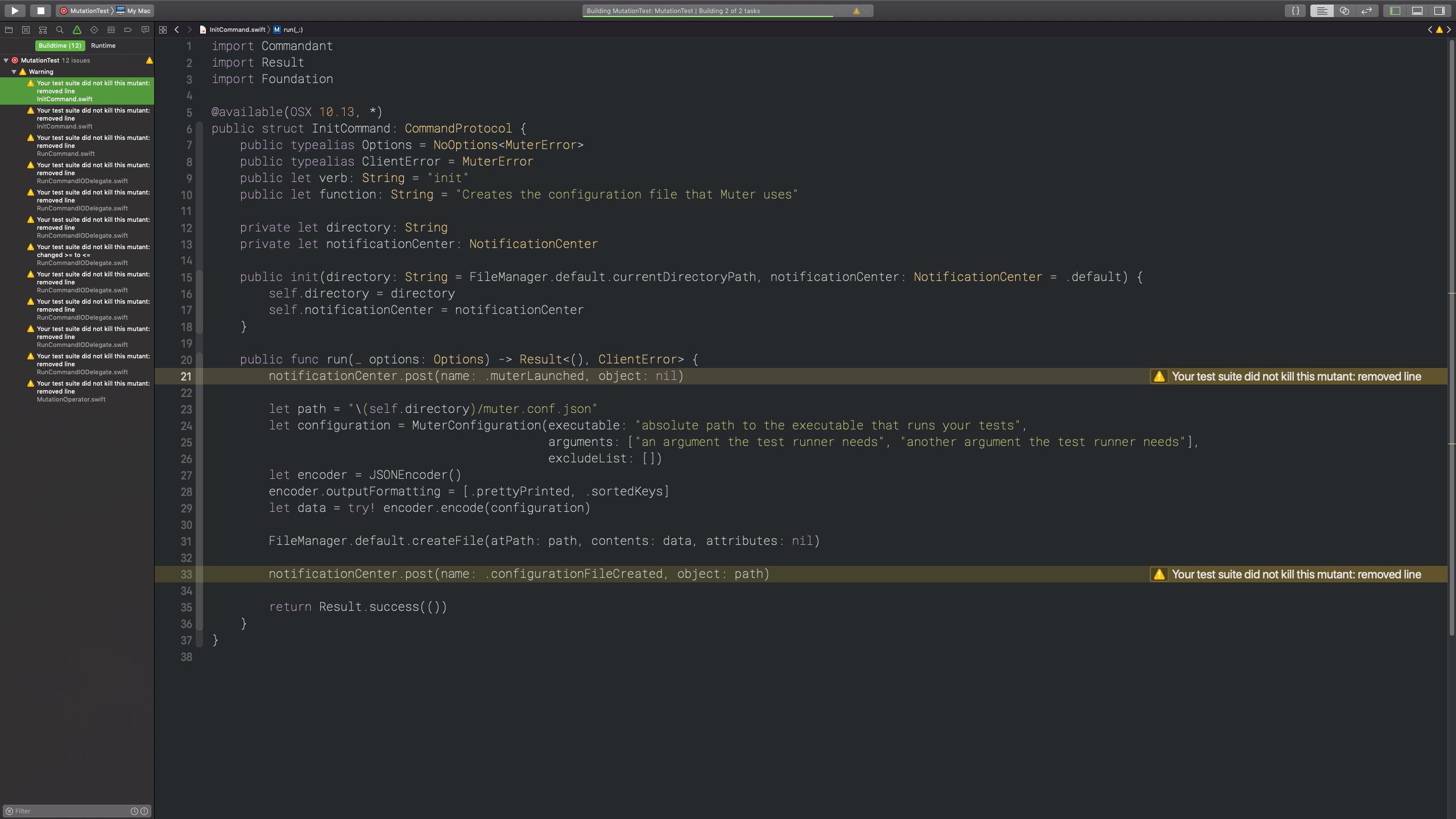 Muter running inside Xcode