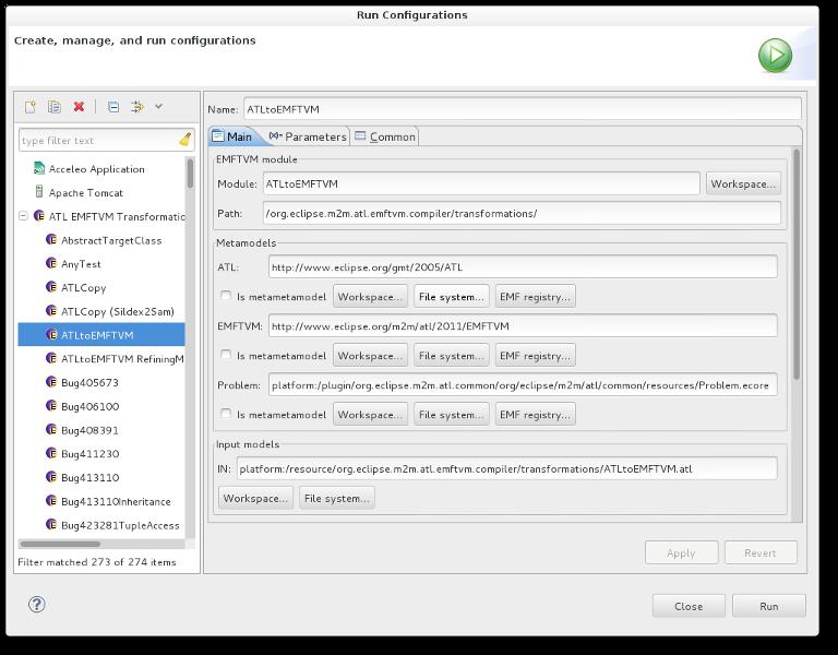 EMFTVM launch configuration dialog