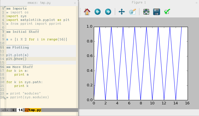 Screenshot of python-cell mode in action