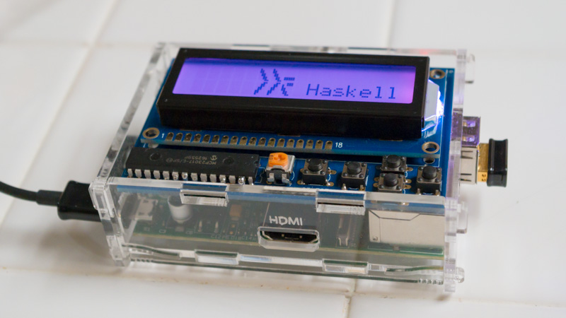 LCD with Haskell logo
