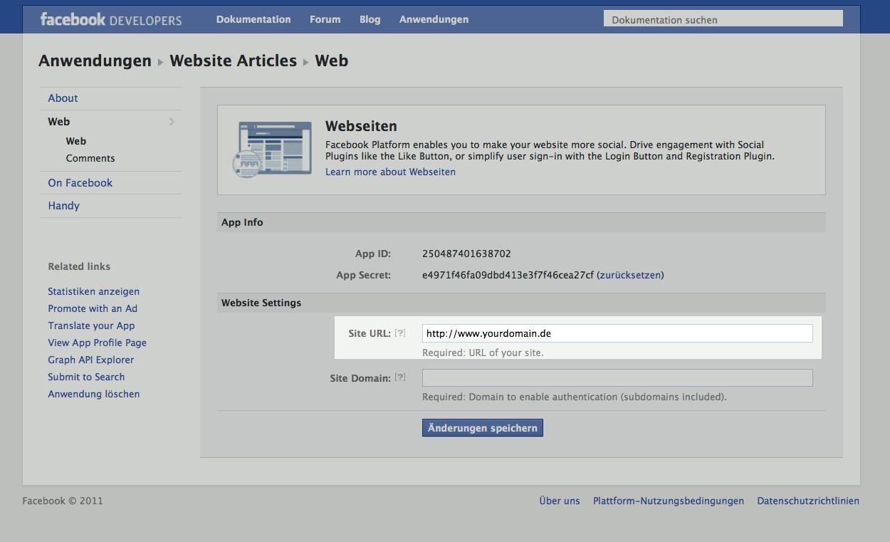 Facebook app registration step 3