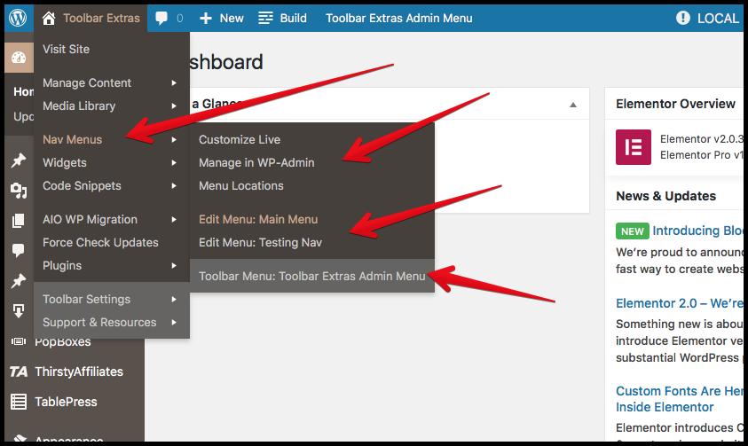 "Toolbar Extras - Nav Menus - jump to admin/ Customizer pages - edit existing menus, including the optional ""Toolbar Admin Menu"""