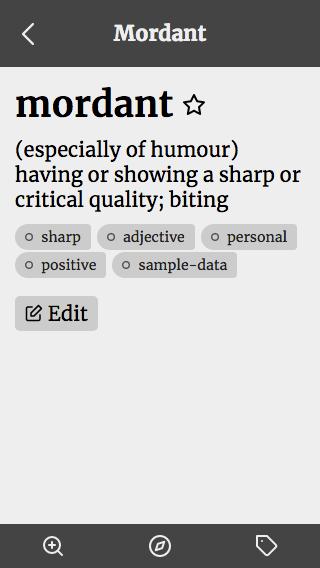 Word detail screen