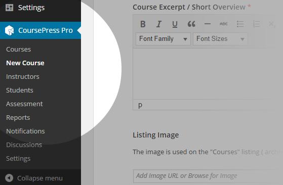 CoursePress - New Course menu