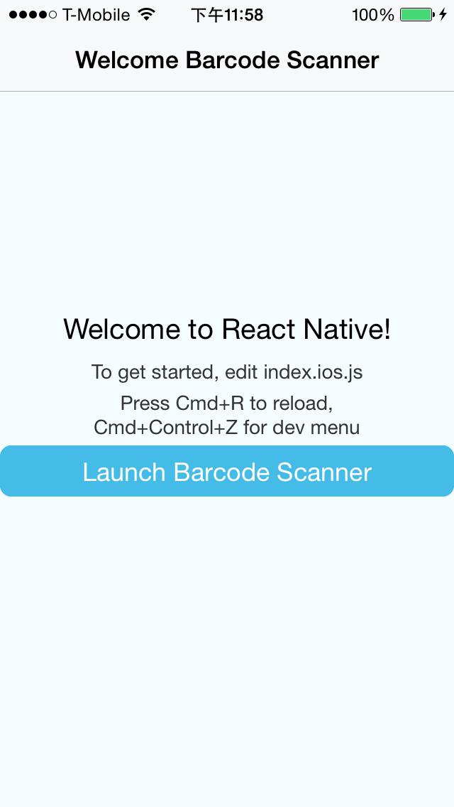 React Native Barcode Scanner - Launcher