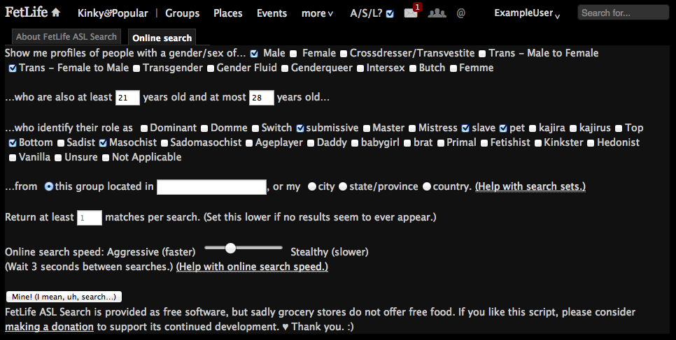 Screenshot of form fields for FetLife Age/Sex/Location Search.