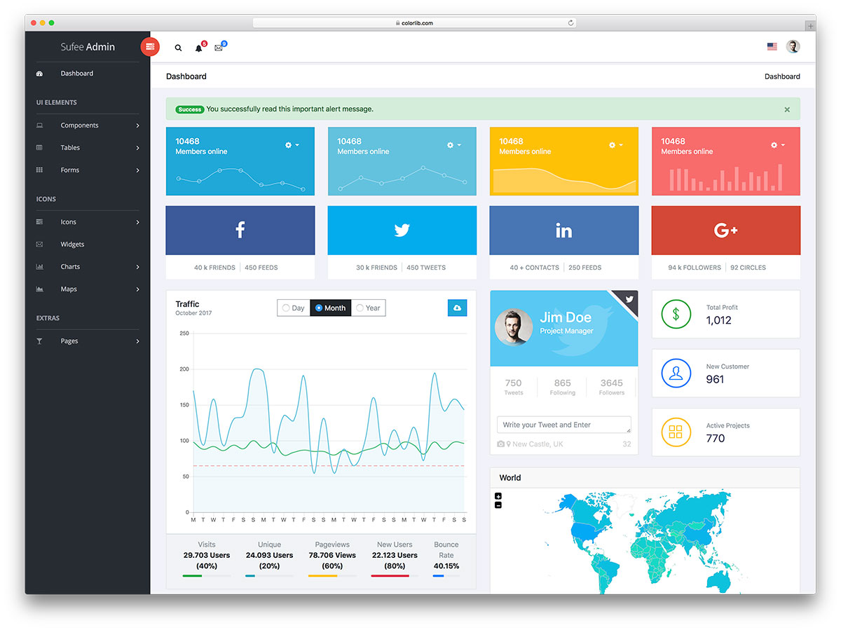 Sufee admin dashboard template preview