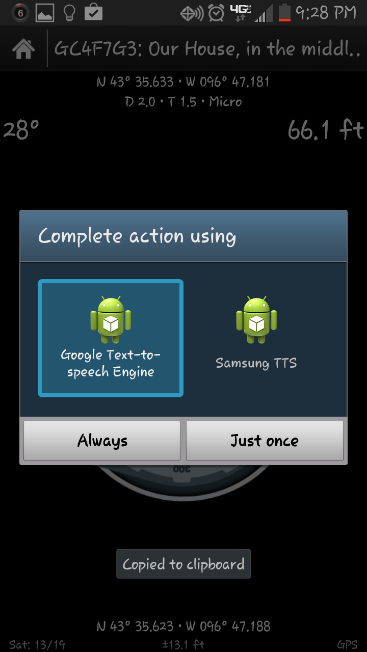 samsung s3 using talking compass with google tts only prompts for