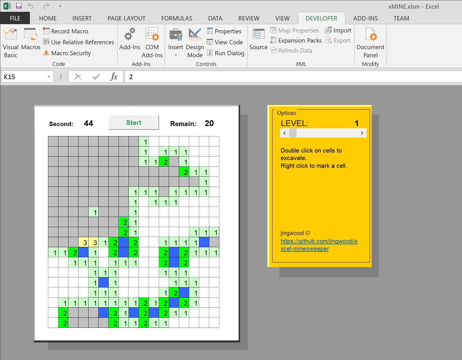 Excel Minesweeper